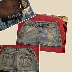 Hurley denim mini skirt size 7